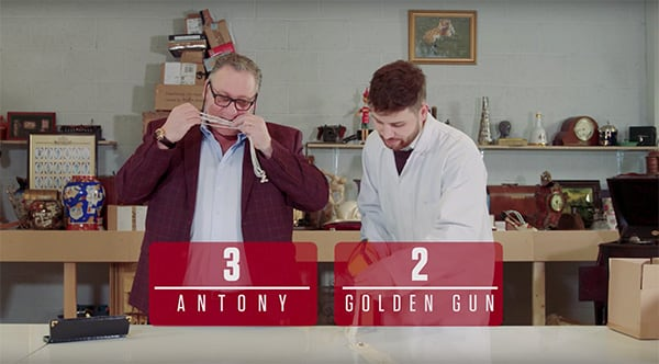 A picture of Antony Charman and Matthew Christlow with the words Antony 3 Golden Gun 2