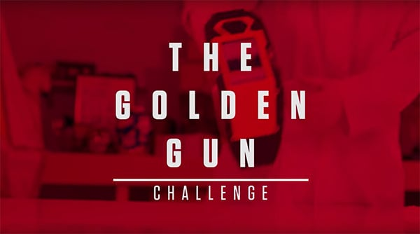 A slide that says The Golden Gun Challenge