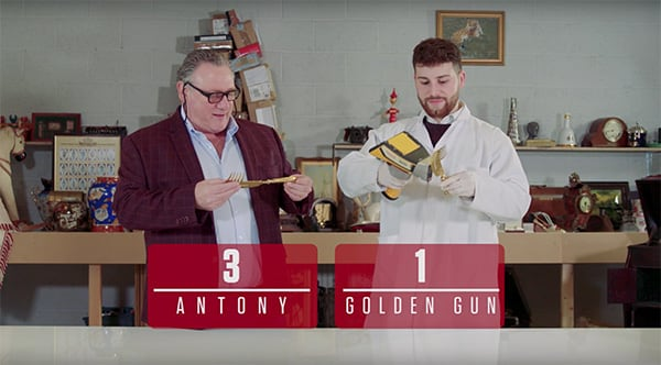 Antony Charman and Matthew Christlow with words that say Antony 3 Golden Gun 1