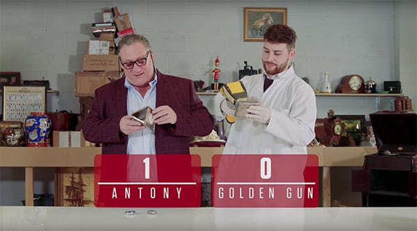 A picture of Antony Charman and Matthew Christlow that says Antony 1 Golden Gun 0