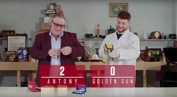 Antony Charman and Matthew Christlow and the words Antony 2 Golden Gun 0
