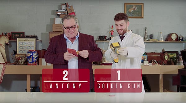 Antony Charman and Matthew Christlow with writing that says Antony 2 Golden Gun 1