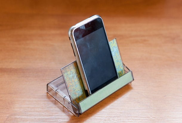 Cassette tape case phone holder